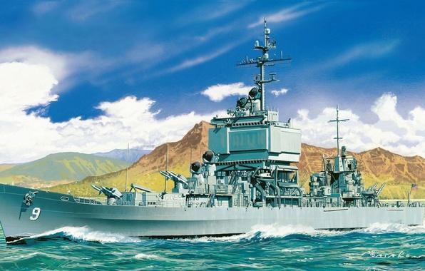 Картинка корабль, арт, флот, Long Beach, военный, крейсер, атомный, ракетный, ВМС, США., флота, CGN-9