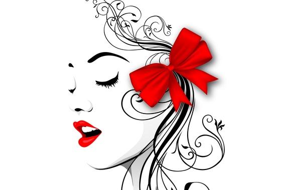 Картинка лицо, стиль, вектор, профиль, бантик, красные губы