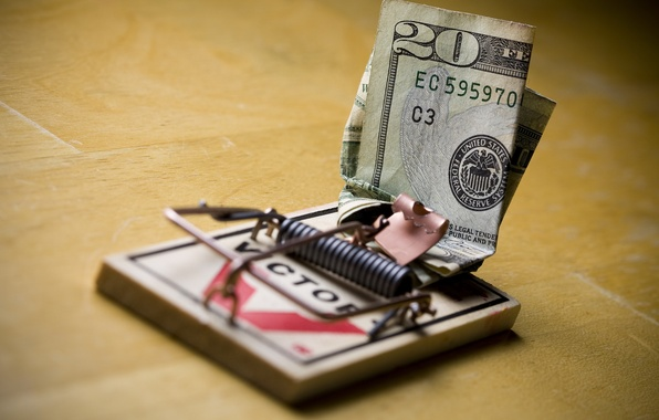 Картинка макро, деньги, мышеловка, доллары