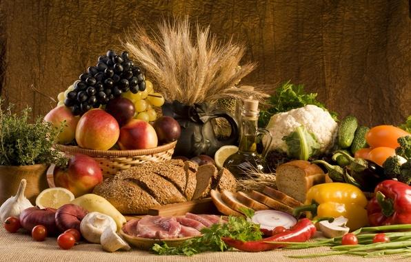 Картинка пшеница, зелень, лимон, грибы, масло, еда, лук, хлеб, виноград, мясо, перец, фрукты, овощи, персики, сливы, …