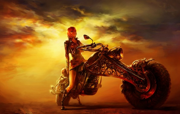 Картинка дорога, девушка, закат, рисунок, вечер, мотоцикл