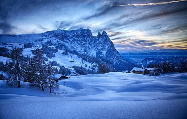 Картинка снег, деревья, горы, Зима, домики