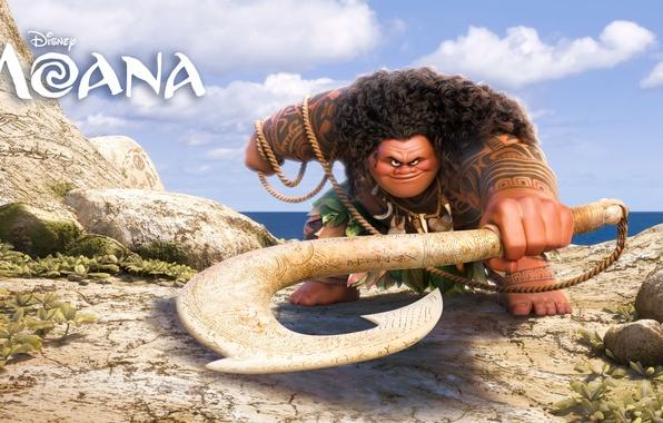 Картинка море, камни, оружие, мультфильм, веревка, фэнтези, Walt Disney Pictures, Maui, Moana, Моана