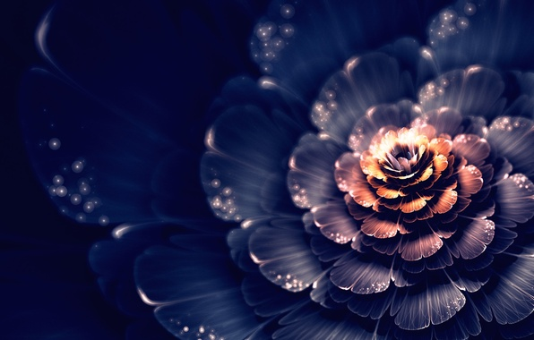 Картинка цветок, свет, абстракция, графика, пятна, фрактал, боке