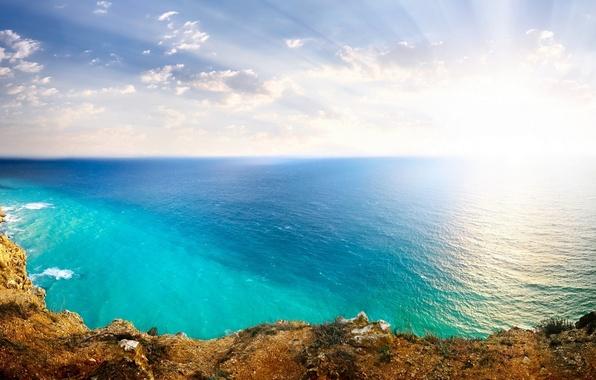 Картинка Солнце, Небо, Природа, Облака, Океан, Море, Скалы, Пейзаж