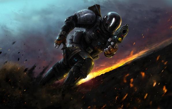 Картинка закат, взрыв, осколки, оружие, бег, искры, костюм, Воин, броня