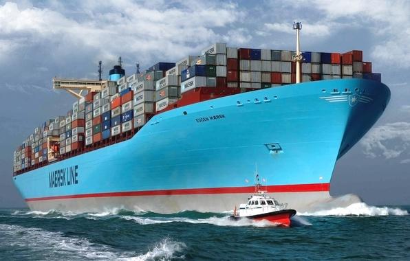 Картинка Вода, Море, Борт, Корпус, Судно, Контейнеровоз, Бак, Лоцман, Лоцманский катер, На ходу, Eugen Maersk, Груз, …