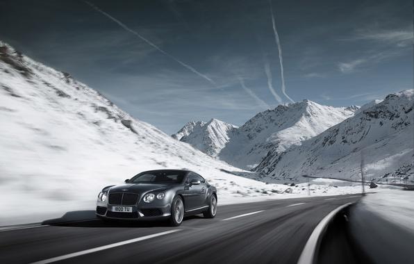 Картинка дорога, car, машина, небо, облака, снег, горы, природа, скорость, road, sky, nature, mountains, clouds, snow, …