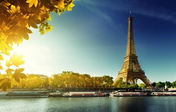Картинка осень, Париж, Paris, France, autumn, leaves, Eiffel Tower