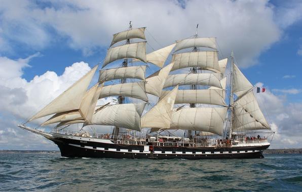 Картинка sea, ocean, france, ship, sailboat, three masted, large sailboat, brest, belem, Sail