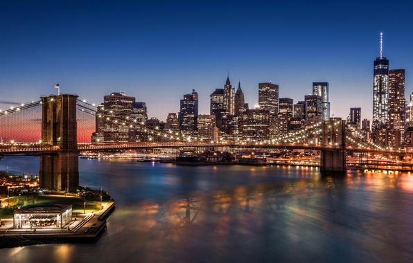 Картинка city, lights, USA, night, New York, Manhattan, Brooklyn Bridge, skyscrapers, harbour