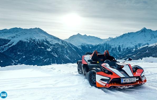 Картинка небо, снег, горы, суперкар, KTM, top gear, высшая передача, топ гир, X-BOW, 20th, Икс-Боу, КТМ, ...