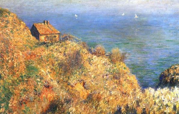 Картинка море, пейзаж, дом, скалы, лодка, картина, парус, Клод Моне