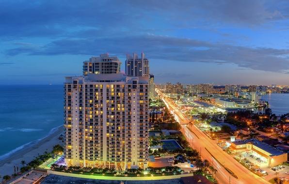Картинка побережье, Майами, Флорида, панорама, ночной город, Miami, Florida, Атлантический океан, Sunny Isles Beach, Санни Айлс …