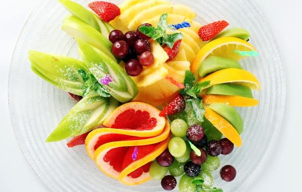 Картинка лимон, apple, яблоко, киви, клубника, виноград, lemon, фрукты, ананас, банан, мята, грейпфрут, блюдо, banana, grapes, ...