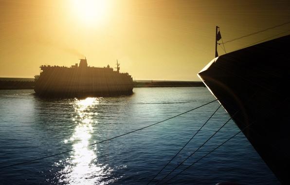 Картинка море, волны, небо, вода, солнце, блики, отражение, фон, океан, настроения, корабли, яхта, широкоформатные, полноэкранные, HD ...