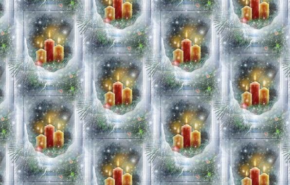 Фото обои Новый год, текстура, зима, фон, окно, арт, свечи, праздник