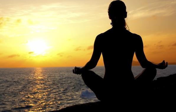 Картинка море, солнце, поза, берег, Девушка, медитация, асана