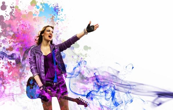 Картинка девушка, музыка, дым, гитара, music, girl, guitar, rock, рок, smoke
