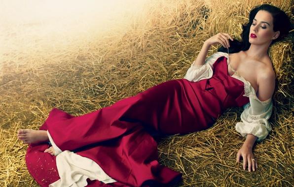 Картинка девушка, платье, брюнетка, сено, Кэти Перри, Katy Perry, певица, колосок