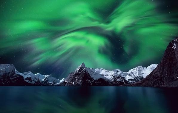 Картинка небо, звезды, снег, горы, ночь, северное сияние, Норвегия, Лофотенские острова
