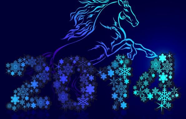 Картинка снежинки, праздник, лошадь, Новый год, синий фон, 2014