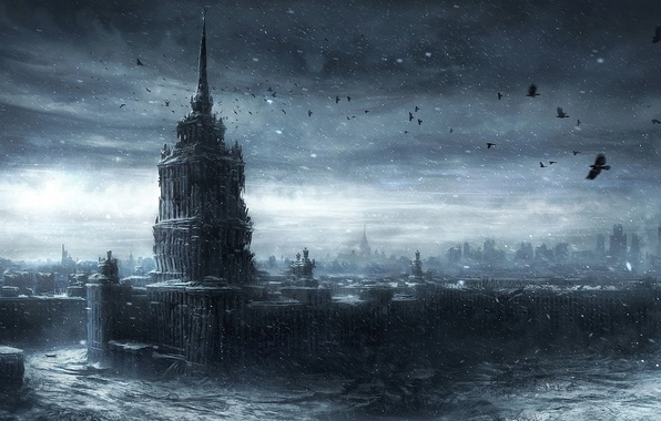 Картинка зима, снег, птицы, город, здания, москва, арт, вороны, руины, постапокалипсис, заброшенность, moscow, ruins