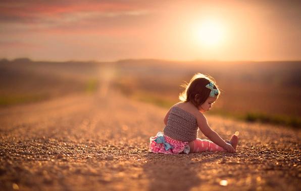 Картинка дорога, простор, девочка, боке