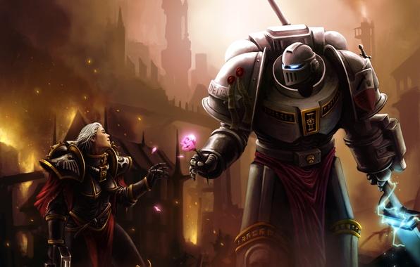 Картинка город, оружие, пожар, роза, доспехи, броня, warhammer, инквизитор, космодесант, space marines, 40k, grey knights