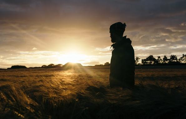 Картинка поле, свет, человек, утро