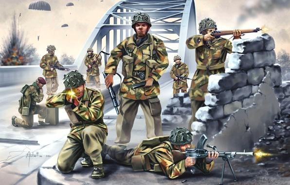 Картинка мост, оружие, рисунок, арт, стрельба, раскраска, экипировка, высадка, парашютисты, WW2, британские десантники