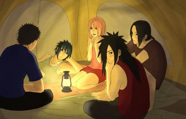 Обои фонарь, палатка, naruto, art, Itachi Uchiha, Sasuke Uchiha, Sakura Haruno, Madara Uchiha, Obito Uchiha
