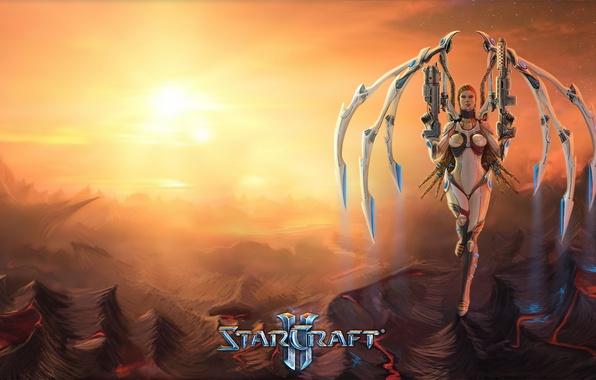 Картинка девушка, оружие, крылья, арт, starcraft, Sarah Kerrigan