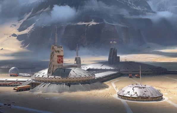 Картинка горы, фантастика, скалы, планета, база, колония