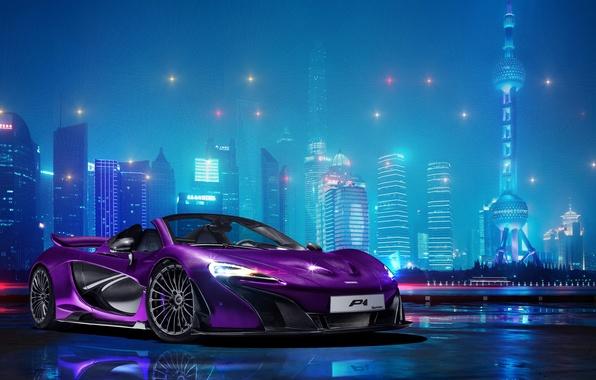 Картинка фотошоп, McLaren, ночной город, гиперкар, McLaren P1