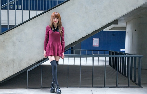 Картинка взгляд, девушка, волосы, платье, ножки, азиатка