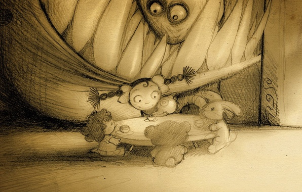 Картинка рисунок, монстр, чаепитие