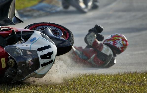 Картинка падение, мотоцикл, гонщик, Going Down