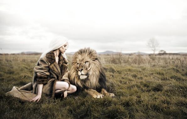 картинки лев и девушка