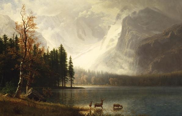 Обои животные пейзаж горы картина Альберт Бирштадт