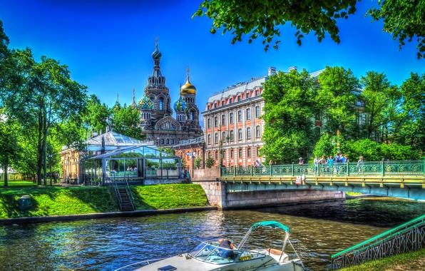 Картинка деревья, мост, река, дома, обработка, Санкт-Петербург, церковь, канал, храм, Россия