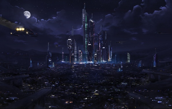 Картинка облака, ночь, city, город, lights, огни, будущее, фантастика, Луна, future, Moon, fantasy, sky, night, clouds, …