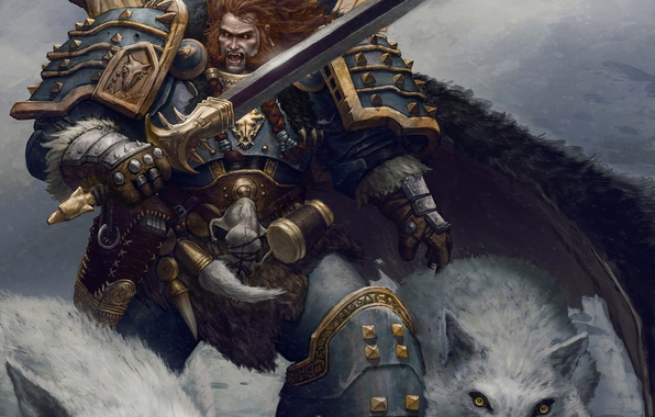 Картинка меч, воин, арт, волки, броня, warhammer, Leman Russ