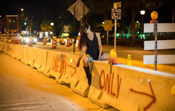 Картинка девушка, ночь, город, улица