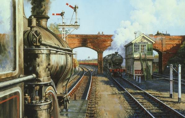 Картинка пейзаж, мост, дым, поезд, паровоз, картина, холст, полустанок, разъезд