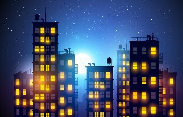 Картинка небо, свет, ночь, город, луна, романтика, рисунок, здание, окна, дома, звёзды, небоскребы, широкоформатные обои для …