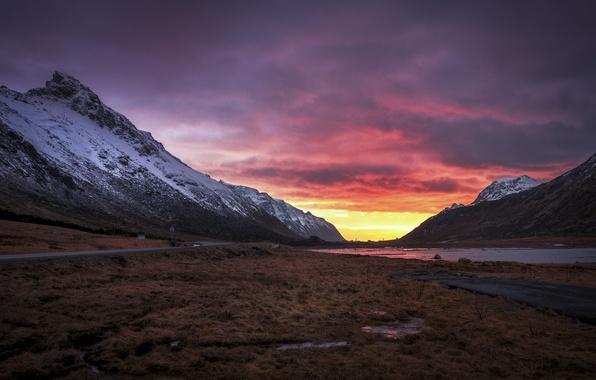 Картинка дорога, горы, рассвет, утро, долина, Норвегия