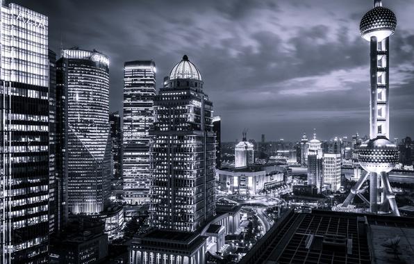 Картинка ночь, город, огни, China, здания, небоскребы, Китай, Азия, Shanghai, Шанхай