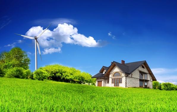 Картинка поле, лето, небо, облака, деревья, дом, house, sky, trees, field, clouds, windmill, Summer, alternator, ветряной …