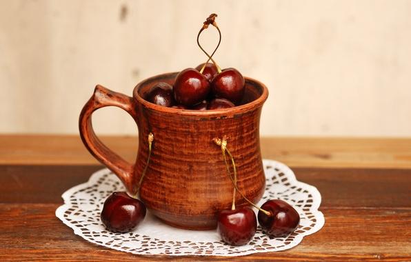 Картинка вишня, фон, widescreen, обои, еда, ягода, wallpaper, коричневый, широкоформатные, background, полноэкранные, HD wallpapers, широкоэкранные, fullscreen